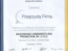 """Certyfikat """"Przejrzysta Firma"""" 2009 dla Mazurenko Promotion"""