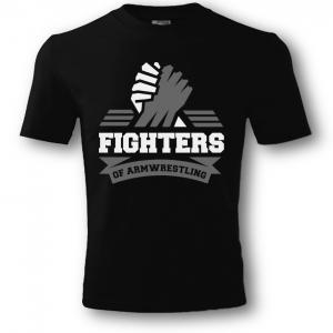 Koszulka  FIGHTERS unisex – czarna. Nadruk biało / siwy