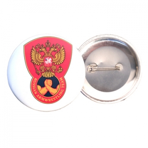 "Przypinka – button  ""Russian Armwrestling Team"""