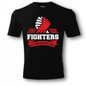 Koszulka  FIGHTERS unisex – czarna. Nadruk biało / czerwony.